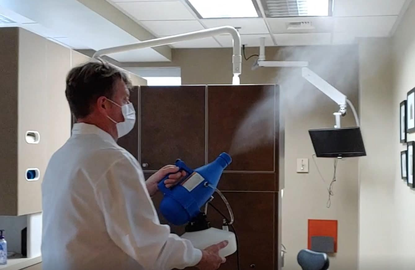 Dr. Chris Pickel Using Disinfecting Fogger